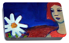 Portable Battery Charger featuring the painting The White Flower by Winsome Gunning