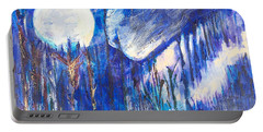 Portable Battery Charger featuring the painting The Wind Blows A Kiss To The Moon by Seth Weaver