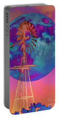 The Windmill And Moon In A Sherbet Sky Portable Battery Charger