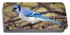 The Winter Blue Jay  Portable Battery Charger by Ricky L Jones