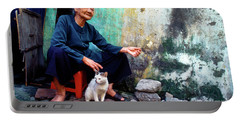 The Woman And The Cat Portable Battery Charger