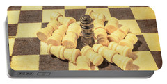 The Wooden Checkmate Tournament Portable Battery Charger