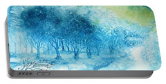 The Woods Are Lovely Dark And Deep Portable Battery Charger by Trudi Doyle