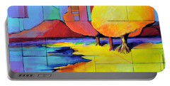 Portable Battery Charger featuring the painting The Yellow Tree by Jodie Marie Anne Richardson Traugott          aka jm-ART