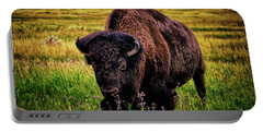 Portable Battery Charger featuring the photograph Theodore Roosevelt National Park 009 - Buffalo by George Bostian