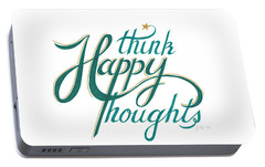 Portable Battery Charger featuring the drawing Think Happy Thoughts by Cindy Garber Iverson