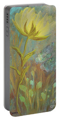 Portable Battery Charger featuring the painting Think On Good Things by Robin Maria Pedrero