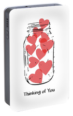 Portable Battery Charger featuring the mixed media Thinking Of You Jar Of Hearts- Art By Linda Woods by Linda Woods