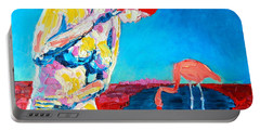 Portable Battery Charger featuring the painting Thinking Woman by Ana Maria Edulescu