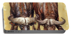 Thirsty Buffalo  Portable Battery Charger by Margaret Stockdale