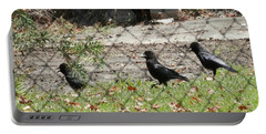 Thirsty Trio Of Ravens Portable Battery Charger by Belinda Lee