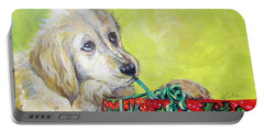 Portable Battery Charger featuring the painting This Is Mine? Right? by Donna Tucker