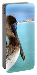 This Is My Town - Pelican At Clearwater Beach Florida  Portable Battery Charger by Angela Rath