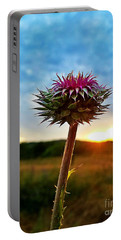 Portable Battery Charger featuring the photograph Thistle At Sunrise by Maria Urso