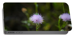 Thistles Morning Dew Portable Battery Charger by Christopher L Thomley