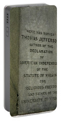 Thomas Jefferson Tombstone Close Up Portable Battery Charger