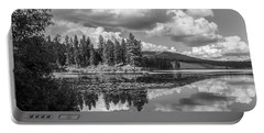 Thompson Lake In Black And White Portable Battery Charger