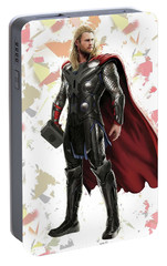 Portable Battery Charger featuring the mixed media Thor Splash Super Hero Series by Movie Poster Prints