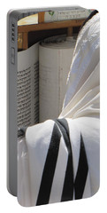 Portable Battery Charger featuring the photograph Thora Reading At The Western Wall by Yoel Koskas