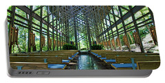 Portable Battery Charger featuring the photograph Thorncrown Chapel Interior by Cricket Hackmann