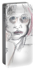 Portable Battery Charger featuring the drawing Thoughtful - A Selfie by Carolyn Weltman