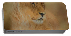Thoughtful Lioness - Square Portable Battery Charger