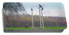 Portable Battery Charger featuring the photograph Three Angels In Spring - Kelly Drive Philadelphia by Bill Cannon