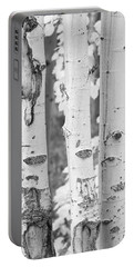 Three Aspens In Black And White  Portable Battery Charger