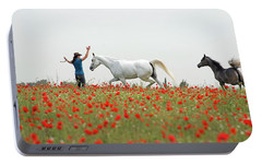 Portable Battery Charger featuring the photograph Three At The Poppies' Field by Dubi Roman