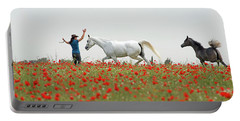 Three At The Poppies' Field Portable Battery Charger by Dubi Roman