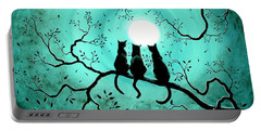 Three Black Cats Under A Full Moon Portable Battery Charger