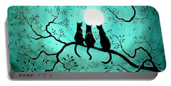 Three Black Cats Under A Full Moon Portable Battery Charger by Laura Iverson