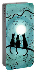 Three Black Cats Under A Full Moon Silhouette Portable Battery Charger by Laura Iverson