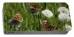 Three Buckeye Butterflies On Wildflowers Portable Battery Charger