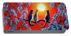 Three Cats In A Bright Red Sunset Portable Battery Charger