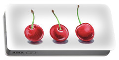 Portable Battery Charger featuring the painting Three Cherries Watercolor Painting by Irina Sztukowski