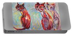 Three Cool Cats Portable Battery Charger by Mary Schiros