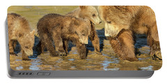 Three Cubs And Mother Drinking At The River Portable Battery Charger