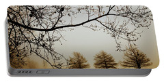Portable Battery Charger featuring the photograph Three Cypress In The Mist by Iris Greenwell