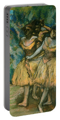 Three Dancers With A Backdrop Of Trees And Rocks Portable Battery Charger