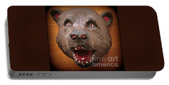 Portable Battery Charger featuring the photograph Three  Dimensional 1953 Folk Art Bear Head by Peter Gumaer Ogden