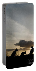 Three Dogs At Sunset Portable Battery Charger