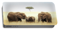 Three Elephant In Tall Grass In Africa Portable Battery Charger