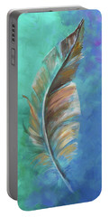Three Feathers Triptych-center Panel Portable Battery Charger by Agata Lindquist