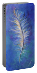 Three Feathers Triptych-right Panel Portable Battery Charger by Agata Lindquist