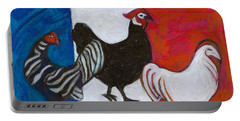 Portable Battery Charger featuring the painting Three French Hens by Denise Weaver Ross