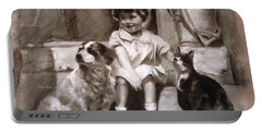 Three Friends On The Doorstep Portable Battery Charger