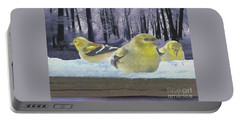 Three Goldfinches In Winter Portable Battery Charger