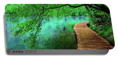 Tree Hanging Over Turquoise Lakes, Plitvice Lakes National Park, Croatia Portable Battery Charger