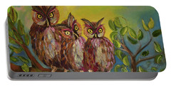 Three Hoots -hooters - Owls  Portable Battery Charger by Jan Dappen